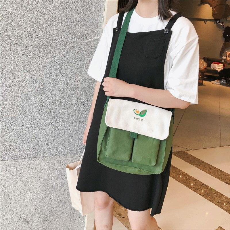 2019 bolso de mano de lona de estilo japonés para mujer, bolso de hombro único, bolsos de mensajero, Bolsos De Mujer, bolso de cubo, estilo Simple