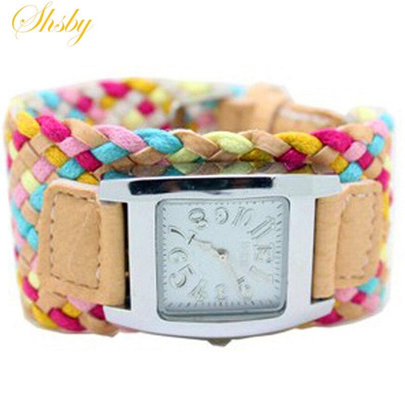 Shsby bohemia multi-colorido tecelagem relógio feminino relógio de quartzo feminino vestido relógio senhoras moda presente pulseira relógio atacado
