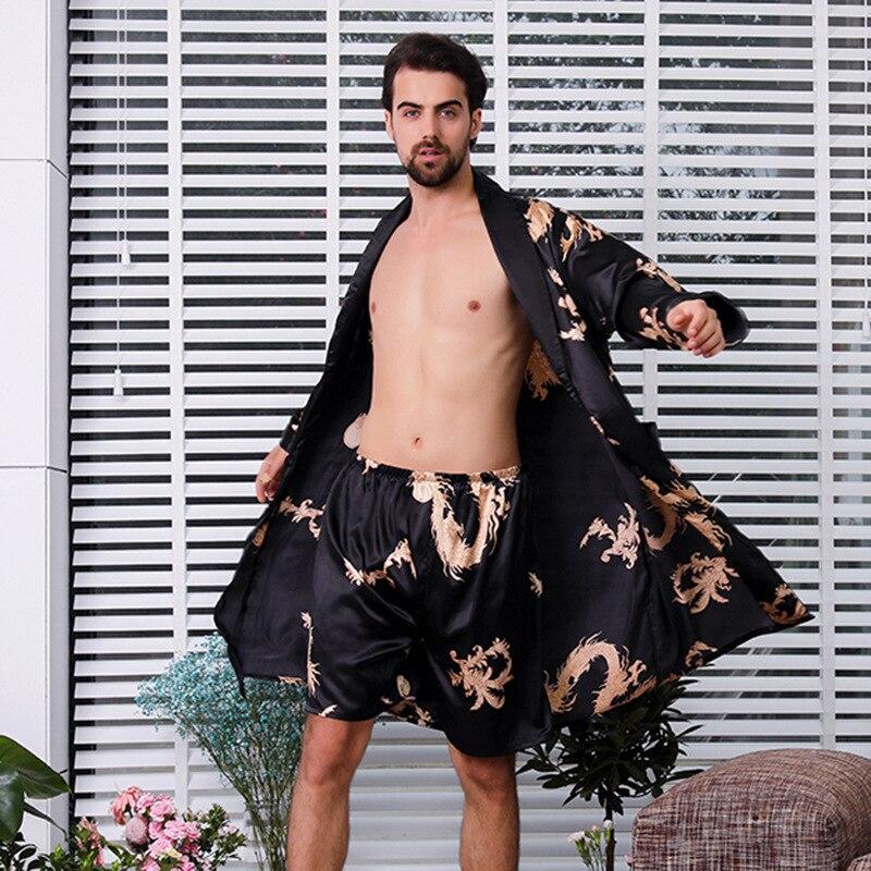 Duas peças terno masculino vestido de seda extra grande robe com dragões homens cetim roupão de seda quimono men 1287