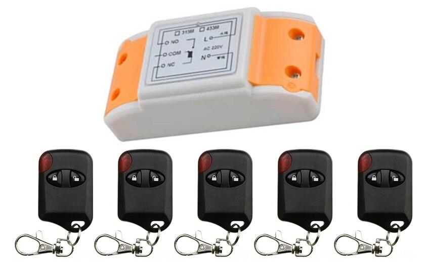 Venta caliente AC220V 10A 1CH 315 MHz/433 MHZ inalámbrico RF Control remoto interruptor teleswitch 5 * ojo de gato transmisor + 1 * receptor