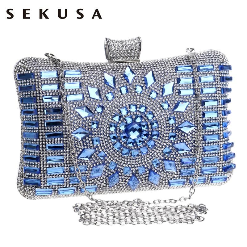SEKUSA الاكريليك المرأة مساء حقيبة الماس محفظة حقائب سلسلة الكتف حفل زفاف مساء براثن حقيبة ساعي عيد الميلاد