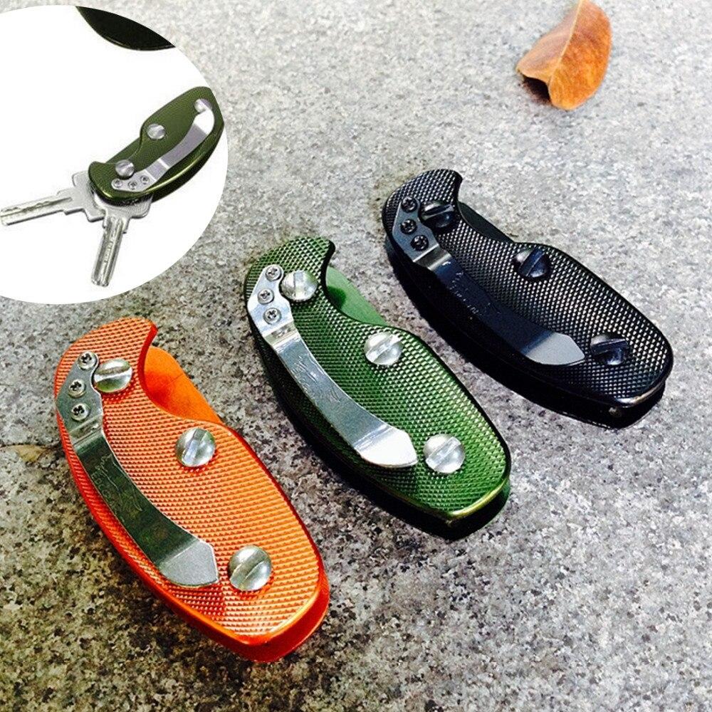 Equipamento de acampamento multifuncional chaveiro ferramentas dobrável chave organizador titular bolso barra de alumínio ferramenta sobrevivência ao ar livre