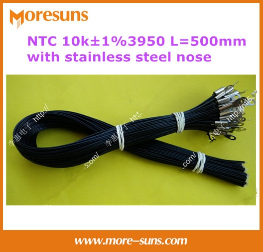 Envío Gratis 50 unids/lote NTC10k 1% 3950 L = 500mm con orificio fijo de acero inoxidable 4 mm Longitud del cable 500mm Sensor NTC