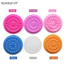 100pcs Colorful Disposable Plastic Flower Eyelash Holder Sticker Glue Adhesive Pallet For Eyelash Extension Makeup Tools