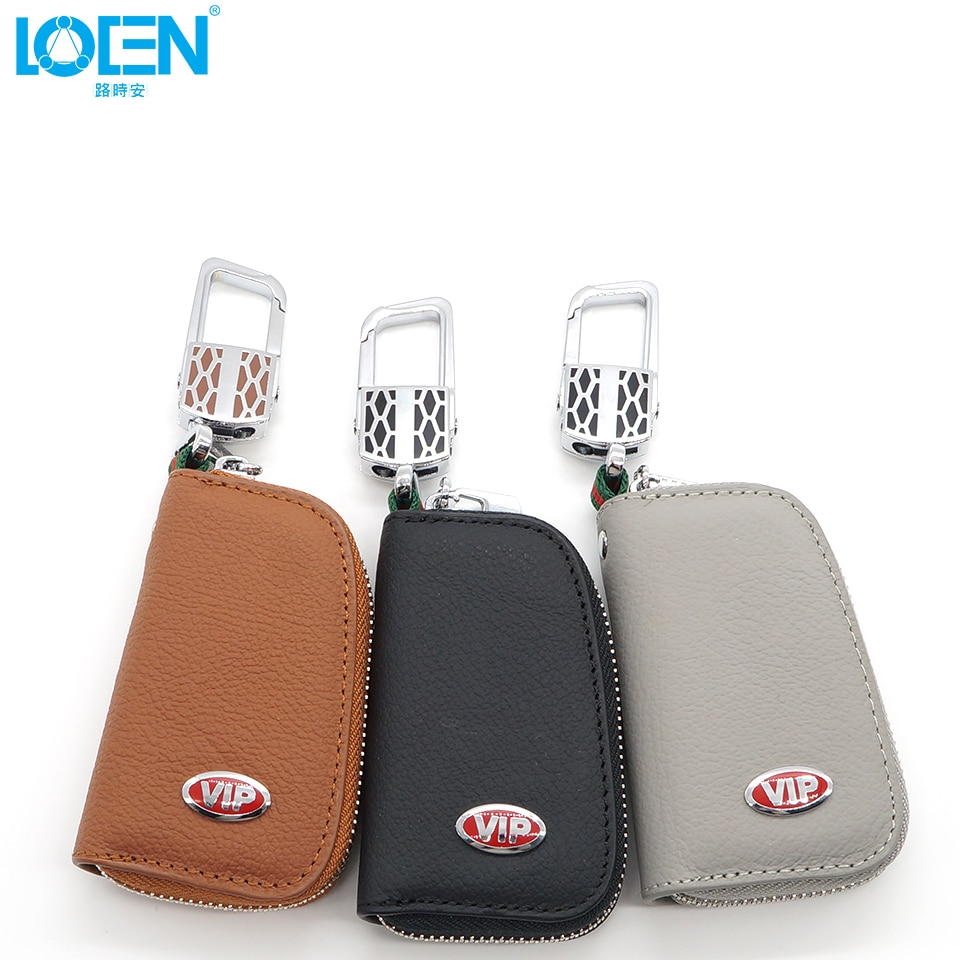 LOEN, 1 unidad, funda para llave de coche, cartera para monedas, cuero auténtico VIP, logo, cremallera, organizador para el hogar, para mujeres, hombres, negro, gris y marrón