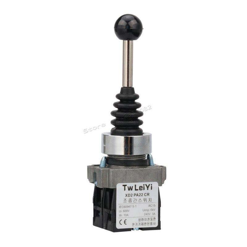22mm interruptor con palanca de mandos momentáneo mantenido 2 Posición 2NO auto bloqueo resorte de retorno basculante controlador de interruptor XD2PA22CR PA12CR