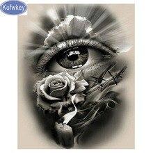 Kufwkey rose mosaïque avec des strass   Peinture diamant 5d, broderie complète dicônes, yeux noirs blancs, perceuses rondes carrées
