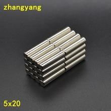 2/5/10/20/Pcs Cilinder Sterke Ronde Neodymium Rare Ndfeb Aarde Magneten N50 5X20 Mm Magneet 5*20 Mm 5 Mm * 20 Mm