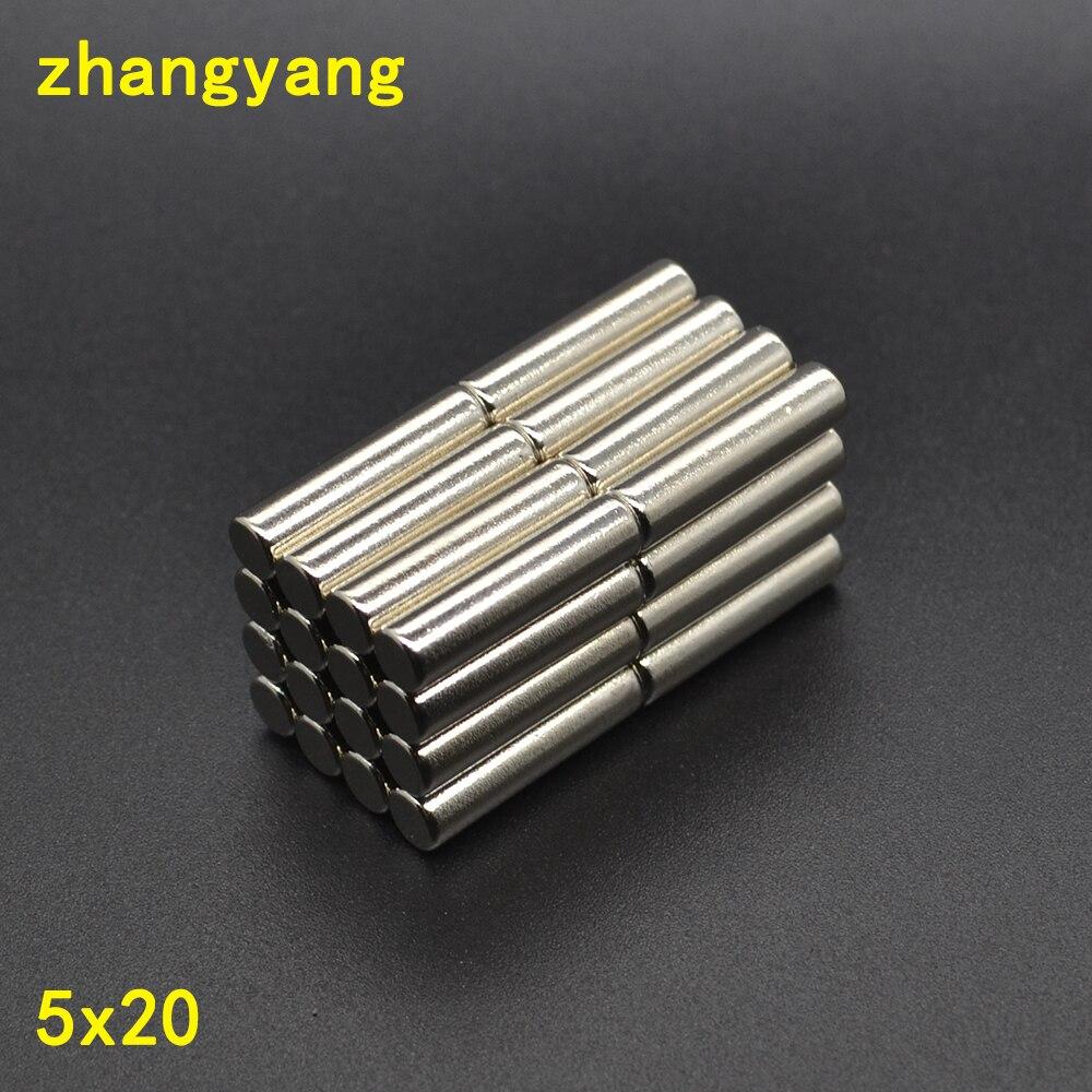 Ímãs raros ndfeb do refrigerador da terra n50 5x20mm ímã 5*20mm 5mm * 20mm 2/5/10/20/pces cilindro neodímio redondo forte redondo