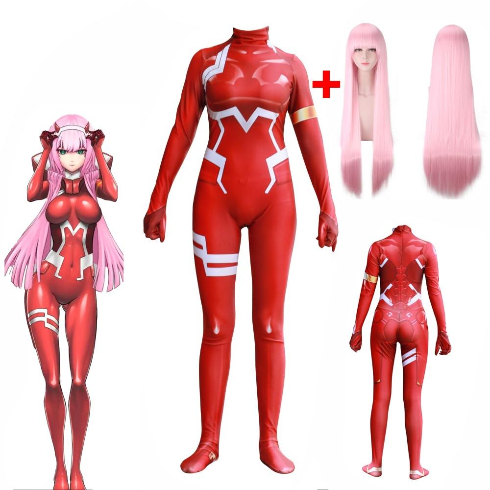 Heißer Null Zwei Liebling in die Franxx Cosplay D Geht Anime 3D Gedruckt Overall Zentai Anzug Catsuit Body Perücke Halloween kostüm