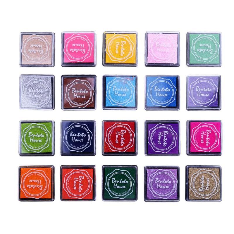 20 colores sello Inkpad Vintage manualidades almohadilla de tinta coloridos sellos de tinta para Scrapbooking sello de decoración