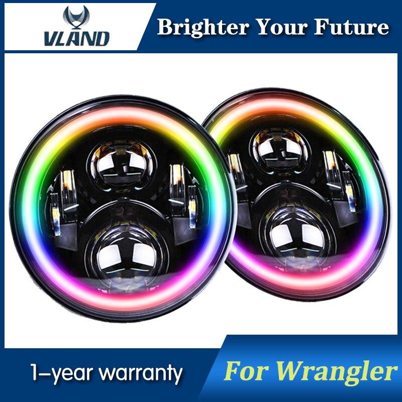 Faro LED de 7 pulgadas para Jeep Wrangler TJ JK luces de cabeza con Multi Color ángulo de ojo APP Bluetooth remoto