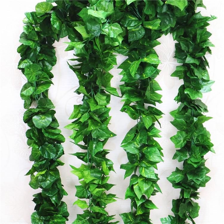 5 piezas de cifrado Artificial Creeper hojas de viñas de uva planta colgante grandes hojas Garland para decoración interior al aire libre