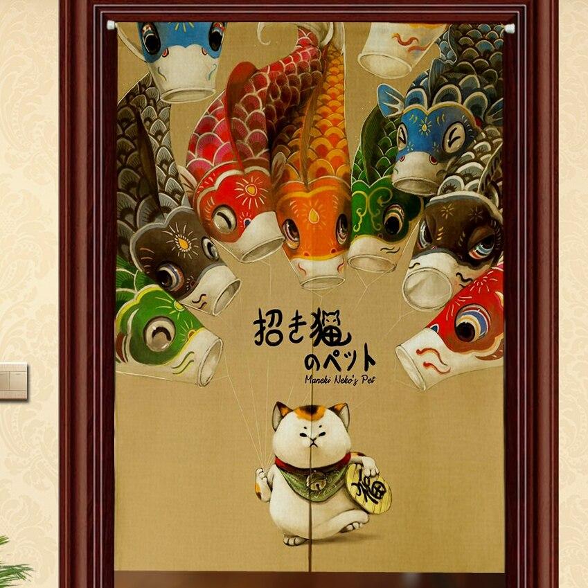 Cortina Maneki Neko Koi de estilo japonés personalizada para restaurante, cocina, partición, cortina, semi Cortina, hecha a mano, cubierta de tela para puerta