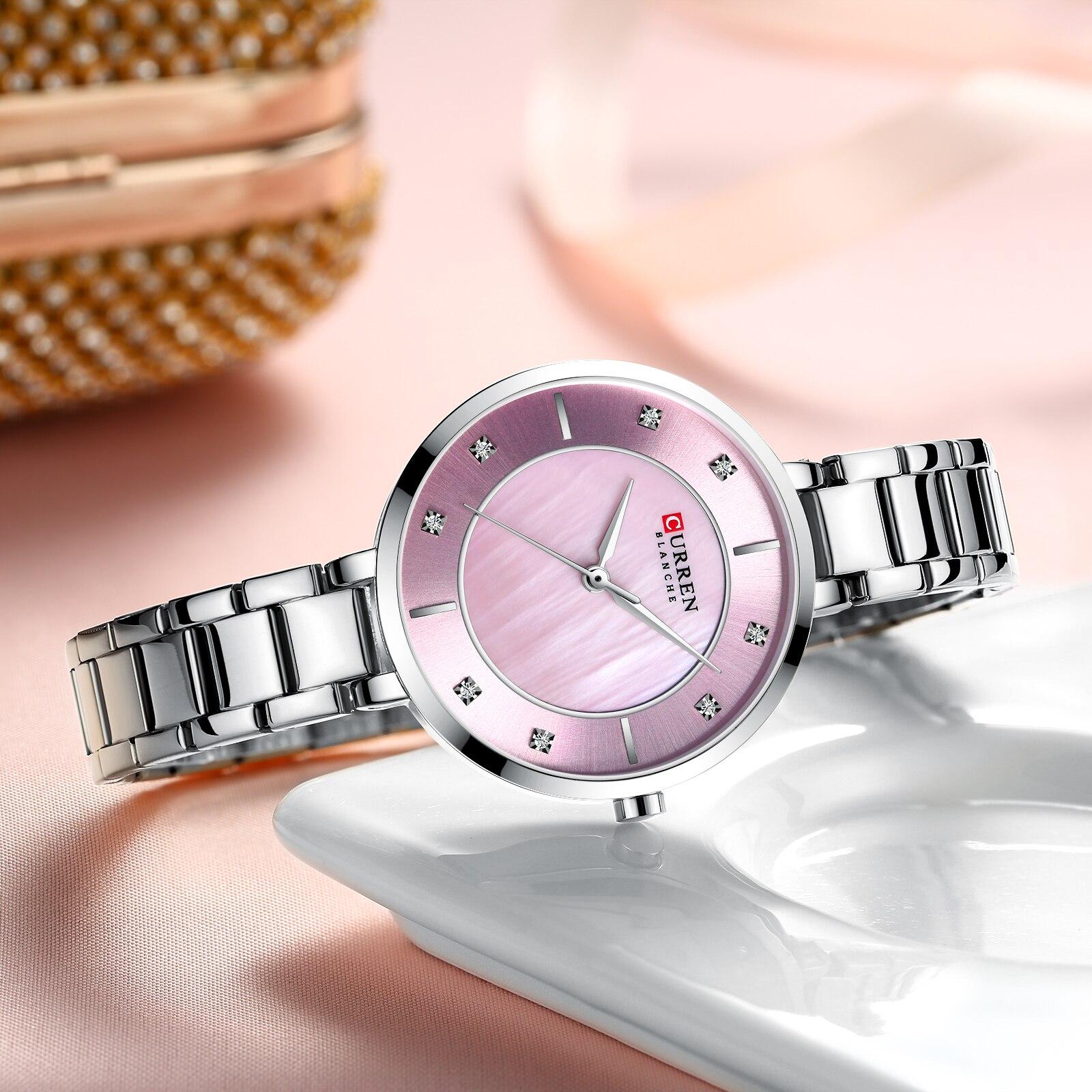 CURREN Luxury Lady Watch Pink Silver Slim Dial Stainless Steel Strap Rhinestone Diamond Quartz Female Girls Brand Watches Clock enlarge