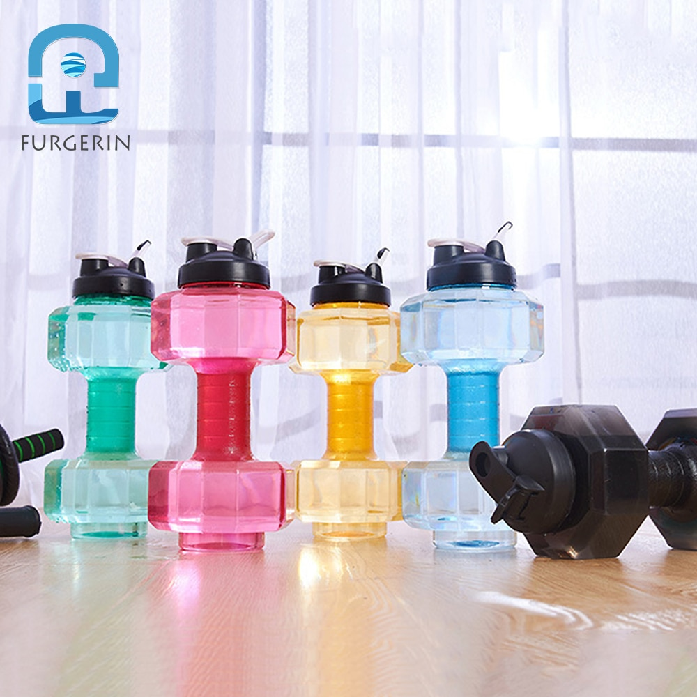 Botellas de agua de la botella de la aptitud de FURGERIN grandes 2,75 kg forma de mancuerna botella de bebida de plástico del deporte botellas de agua 2500 ml