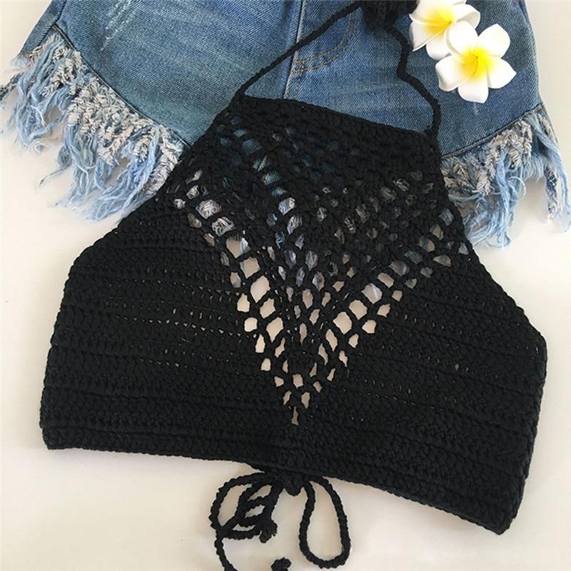 Women Tank Tops Shirt Plain White Halter Vest Strap Crop Tops Bra Beach Bikini Summer Short Vest Sexy Hollow Out Crochet Bikini