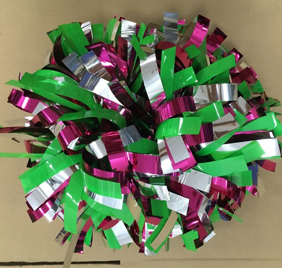 "Pom poms 3/4""x 6"" cheerleader poms metallic hot pink /silver/plastic green wholesale"