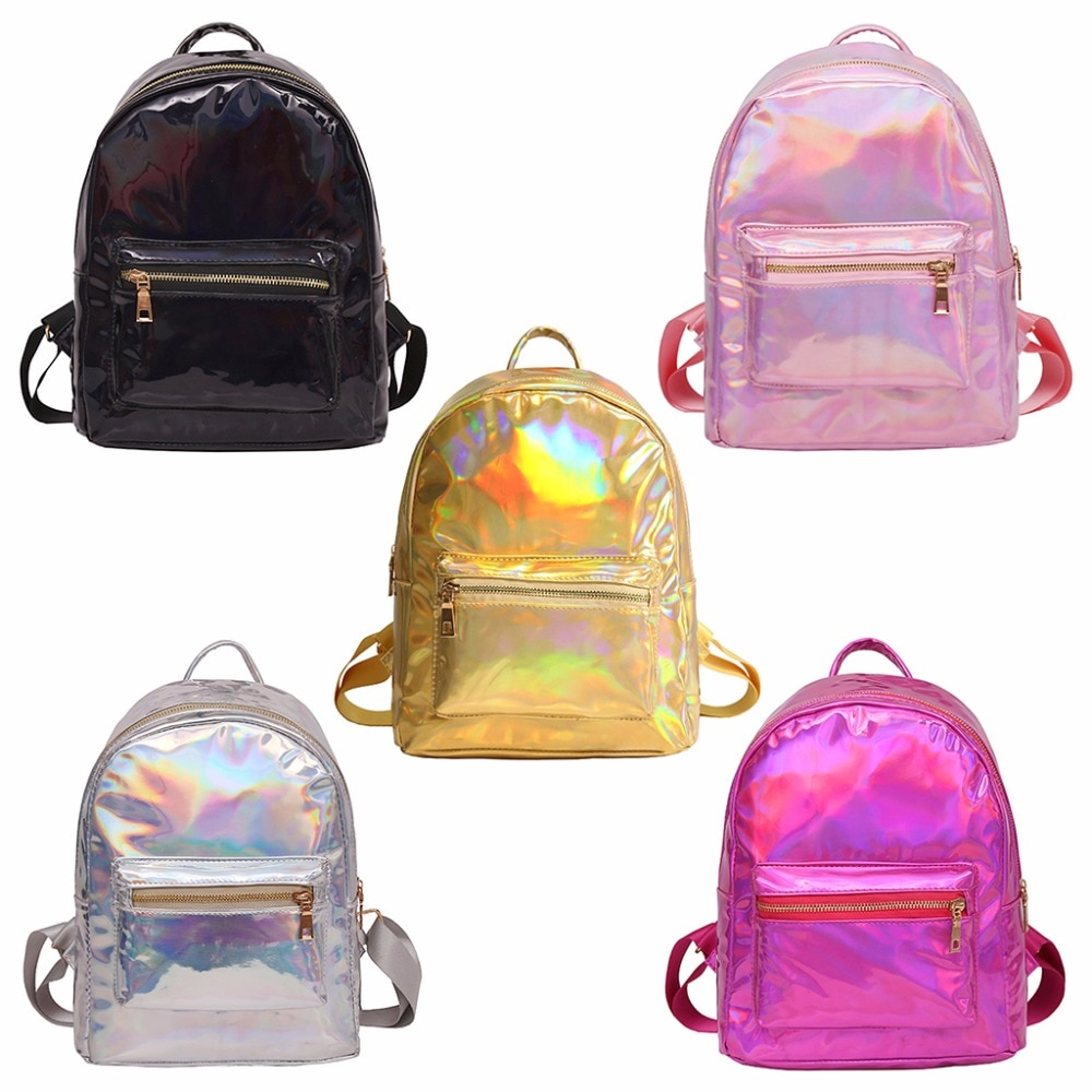 Fashion Women Laser Holographic Backpack Mini Hologram School Bag Bookbag Travel Leather Rucksak 2020 New Brand THINKTHENDO