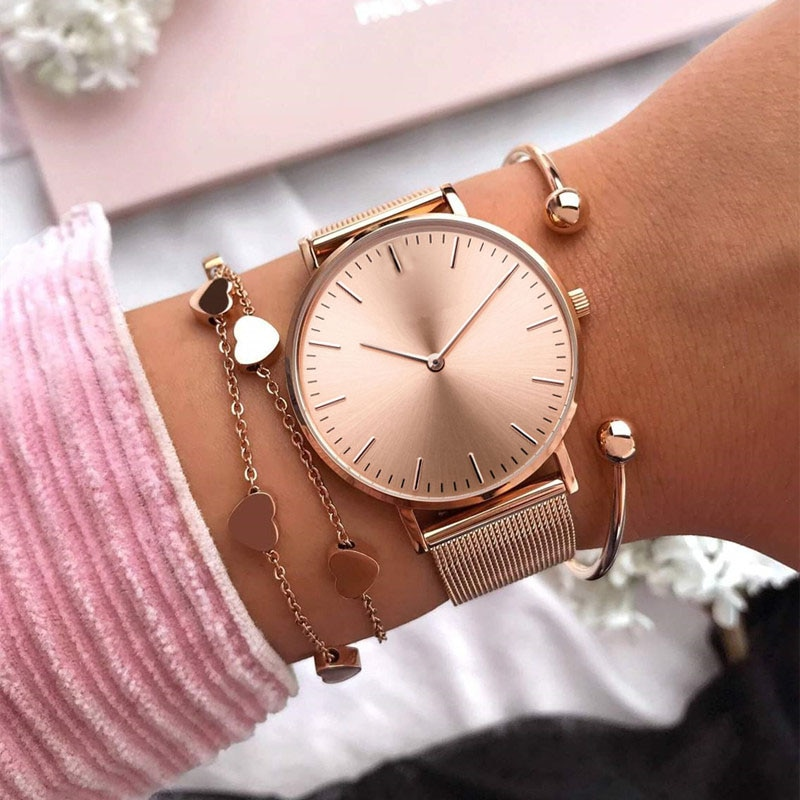 Mavis Hare Rose Gold Schönheit rose Mesh Frauen Uhren mit Herz Armband Mesh Armband & Kristall Ball Manschette Armreifen als geschenk