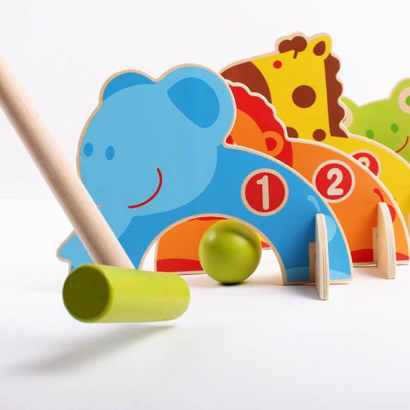Niños de madera de dibujos animados animales Gateball juguetes familia al aire libre Croquet Golf juguetes para padres niños FJ88