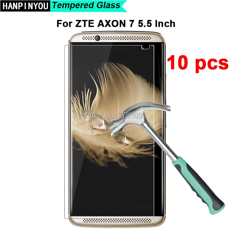 """10 uds/lote para ZTE Axon 7 A2017 2 Axon7 Axon2 5,5 """"9 H dureza 2.5D Ultra-Delgado templado protector de pantalla de película de vidrio"""