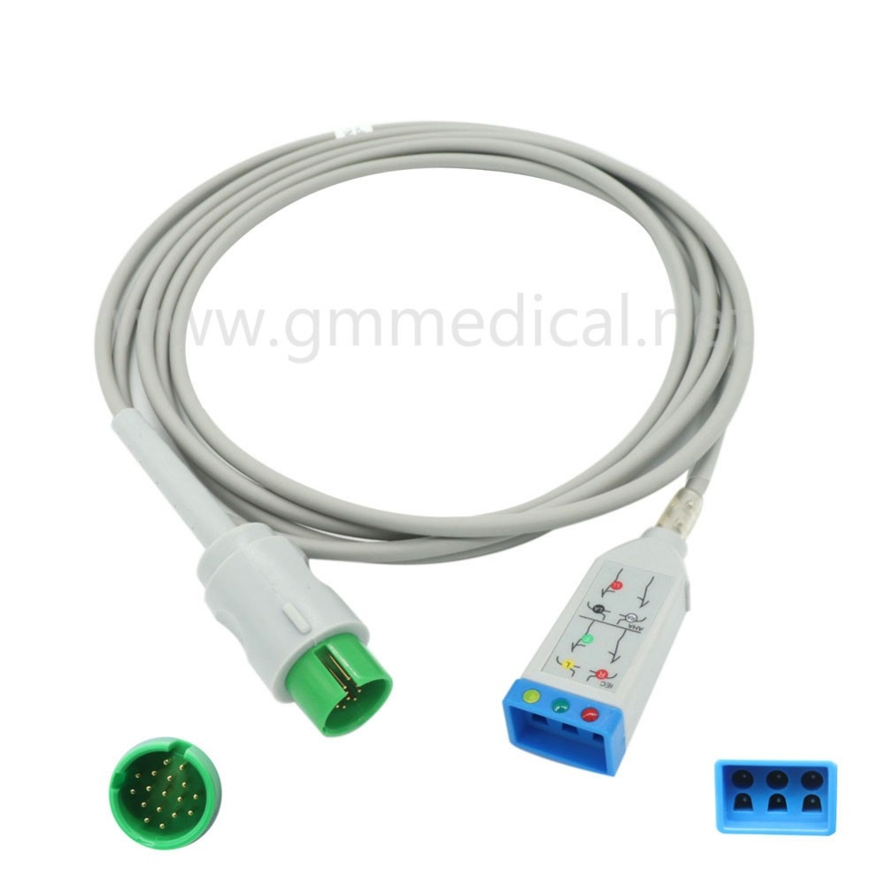 Compatible con Spacelab 90496/90369/90367 Ulttraview 3-plomo Tru-enlace de Cable ECG para Monitor de paciente 17pin IEC/AHA