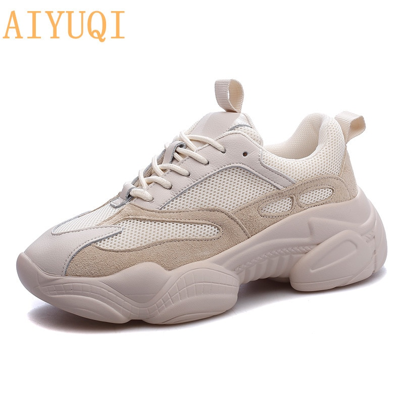 AIYUQI 2021 New Autumn  Ladies sneakers With Genuine Leather Casual Breathable Mesh Women Shoes Lovers