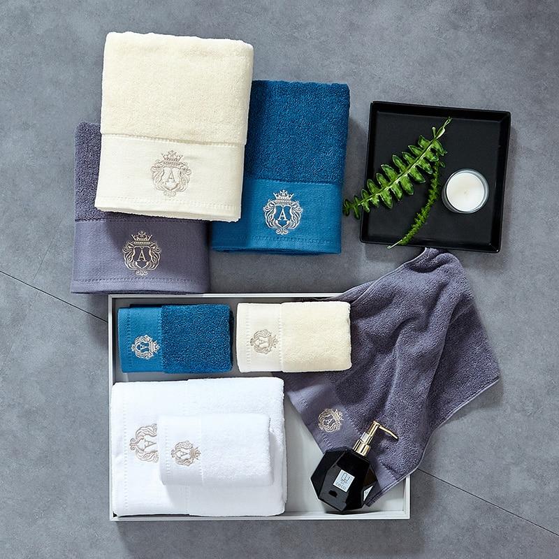 1 2pcs conjunto Microfibra Elegante Bordado Conjuntos De Toalha Sólida pc Toalha de Rosto e 1pc Toalha de Banho Secagem rápida toalhas de Banho para Adultos