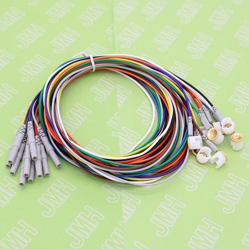 10 Uds Din1.5 enchufe y cobre chapado en oro cap electrodo sleep brain EEG cable, contiene el soporte de fijación del electrodo, aplicable a EEG hat.