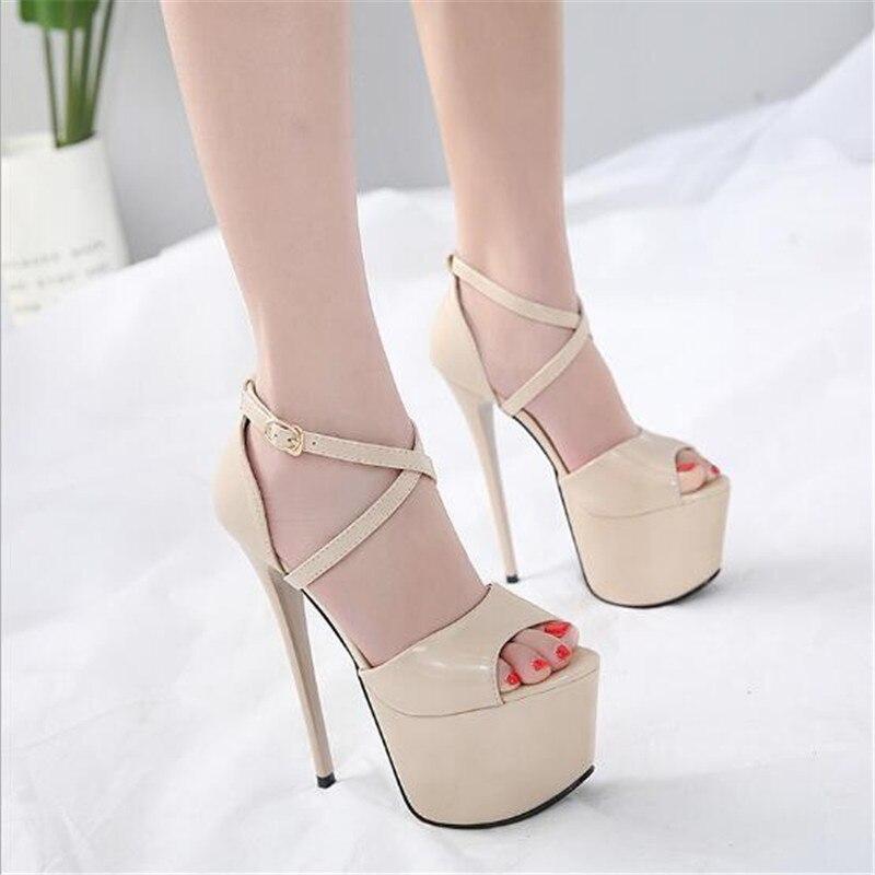 Zapatos de tacón alto para mujer, zapatos de mujer de 16 cm, zapatos de fiesta de boda sexis con punta en punta, tacones desnudos negros, zapatos de tacón de talla grande