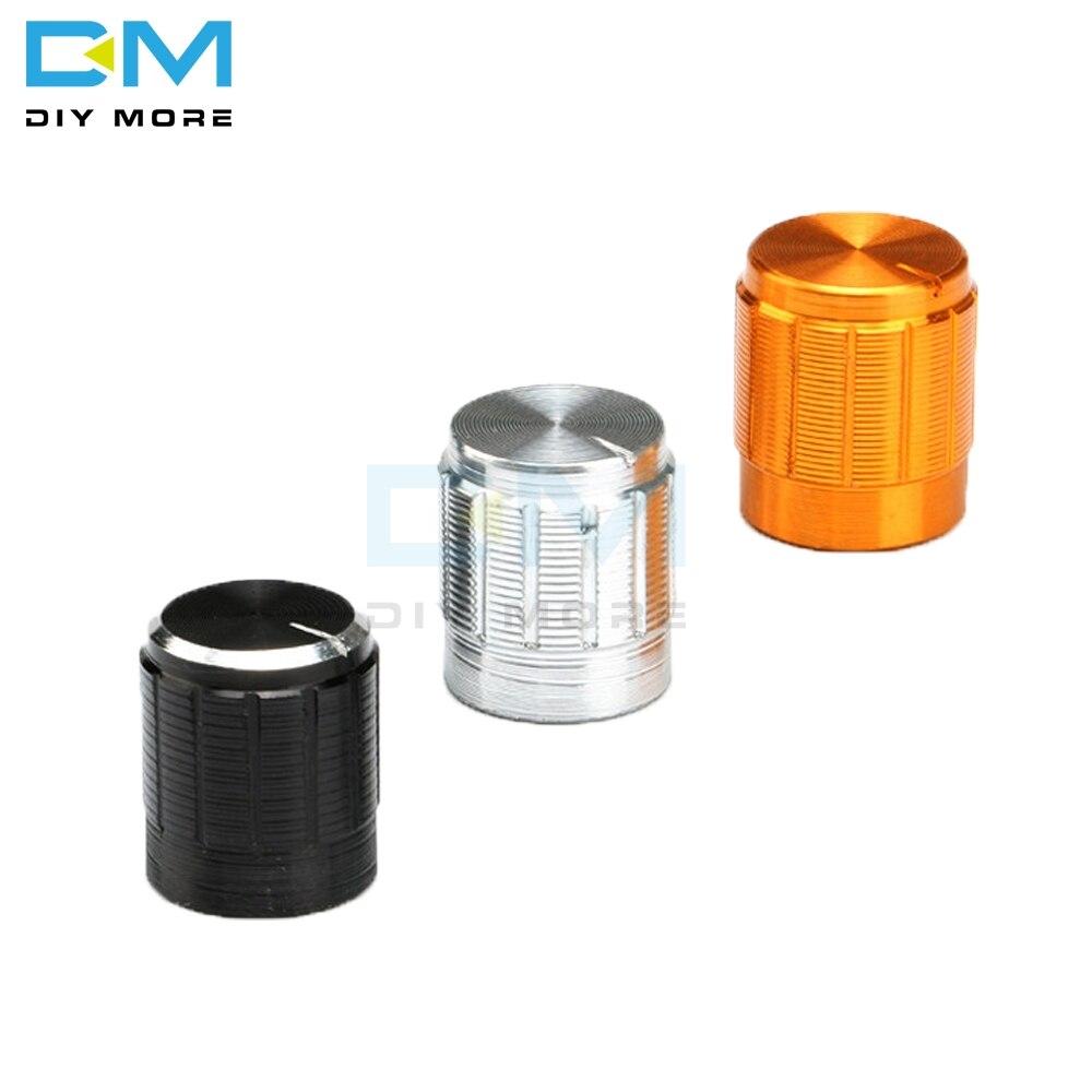10 Uds diymore WH148 potenciómetro de aleación de aluminio para Dia 6mm perillas rotativas de Control de eje moleteado 14x16mm tapa negra plateada dorada