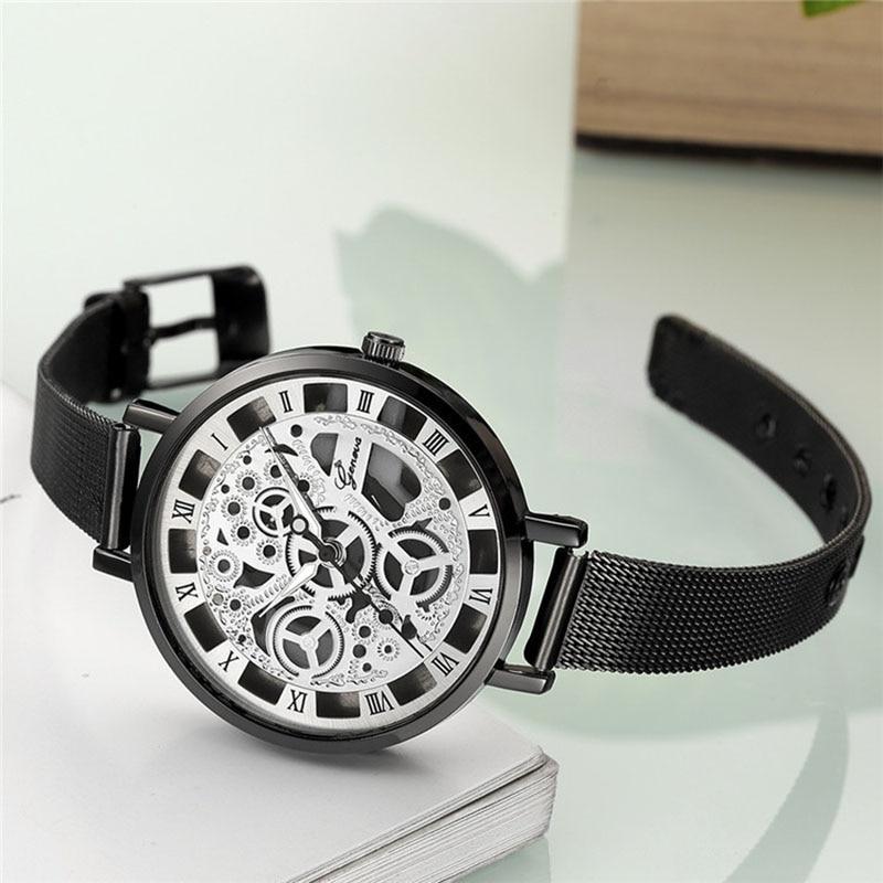GENEVA Women's Watch 2020 Fashion Ladies Watches For Women Gold Watch Women Simple Bracelet hollow steel belt Clock Montre Femme