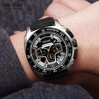 Megir Men's Army Sports Chronograph Quartz Watches Silicone Band 24 Hours Military Waterproof Wristwatch for Man 2056GS-BK-1