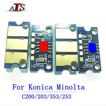 Toner cartridge chip for Konica Minolta Bizhub C 200 203 353 253 210 compatible Copier spare parts C200 C203 C353 C253 C210