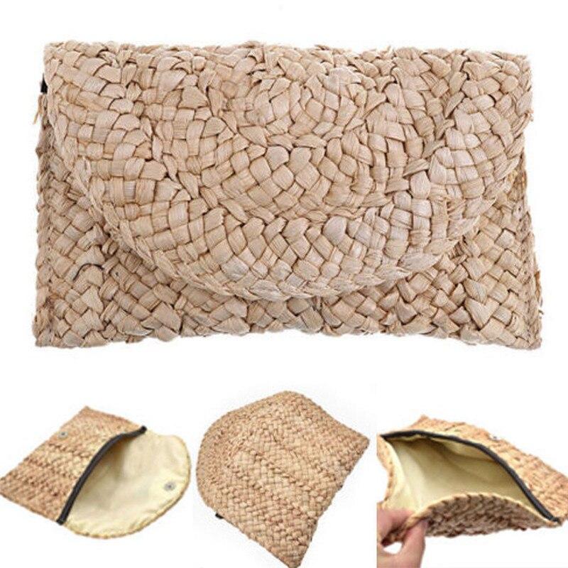 Bolso de playa bohemio para mujer, bolso tejido de paja de verano, bolsa larga, bolso de mano de día
