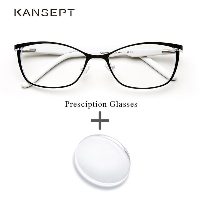 المعادن النساء وصفة طبية نظارات القط العين الكمبيوتر قصر النظر Oculos دي غراو feminino ارماكاو البصرية النظارات للإناث # TWM7553C1