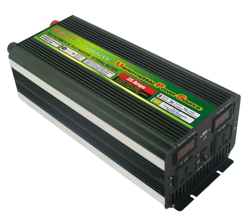 UPS-عاكس شاشة LCD ، 3000 واط ، 6000 واط ، 12 فولت إلى 220 فولت ، شاحن ، مصدر طاقة شحن سريع وصامت ، شحن مجاني