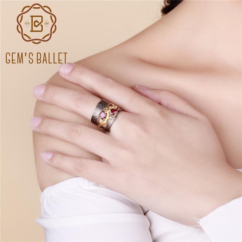 Anillos de plata de ley 925 Original hechos a mano GEMS BALLET, anillo de piedras preciosas de rodolita granate Natural para mujer, joyería de boda