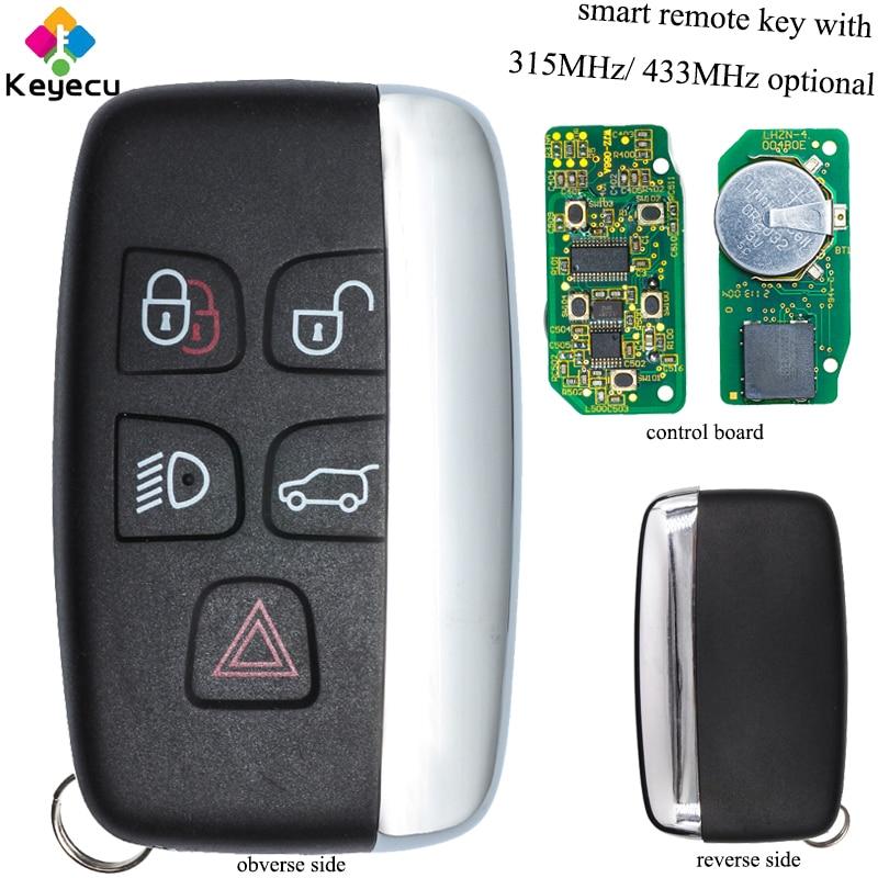 KEYECU Ersatz Smart Remote-Auto Schlüssel-4 + 1/ 5 Tasten & 315MHz/ 433MHz- FOB für Jaguar XF XJ XK XKR 2013-2017 FCC ID KOBJTF10A