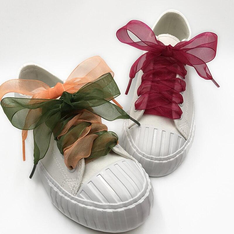 4cm Wide Organza Shoelaces Transparent Chiffon Lace Flat Silk Large Bow Wide Leisure Sports Shoes lace