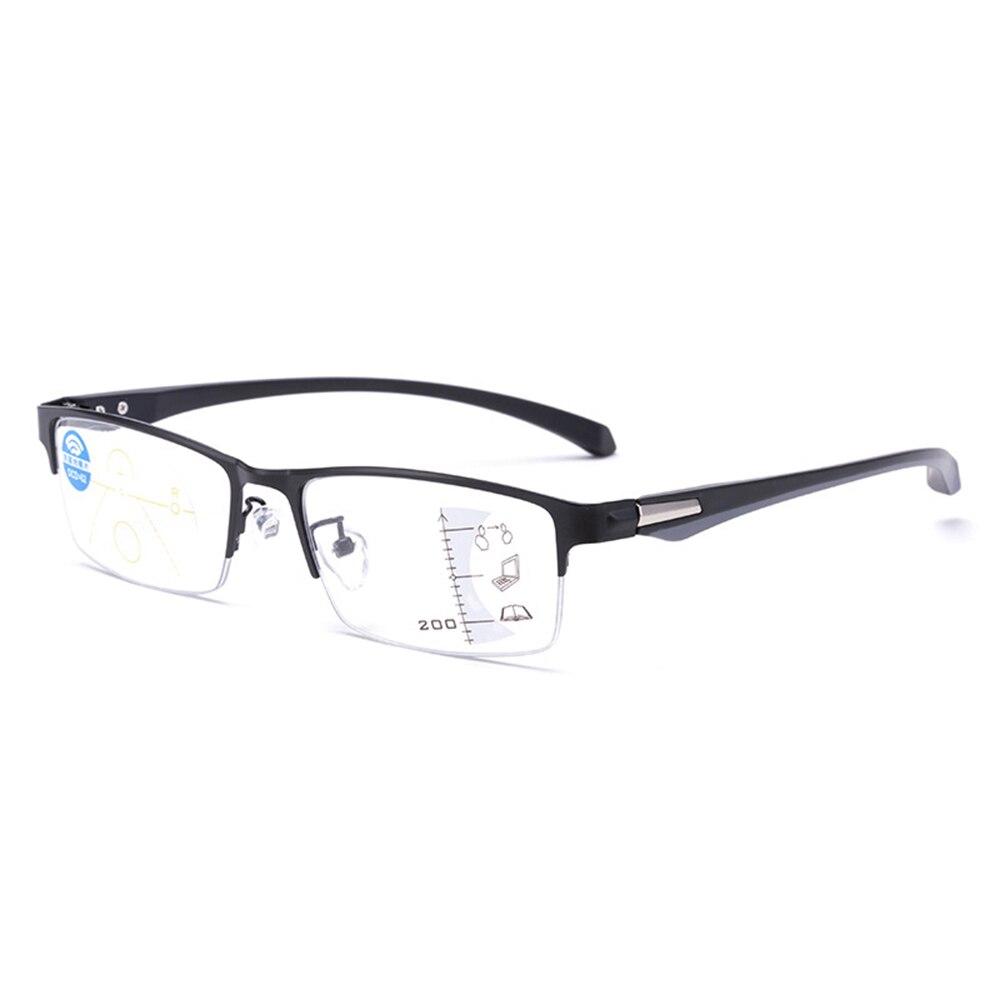 Anti-luz azul lente multifocal progressiva metal meia moldura óculos de leitura ver perto e longe + 0.75 + 1.25 + 1.5 + 2 + 1.75 para + 4