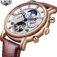 LIGE 2019 New Men Mechanical Tourbillon Luxury Fashion Brand Leather Men Sport Watches Mens Automatic Watch Relogio Masculino