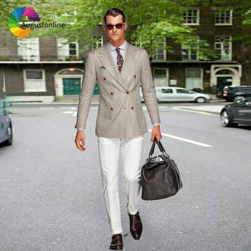Двубортные Бежевые мужские свадебные костюмы, костюмы для мужчин, блейзер, 2 предмета, куртка, белый костюм, брюки, жилет, приталенный смокин...