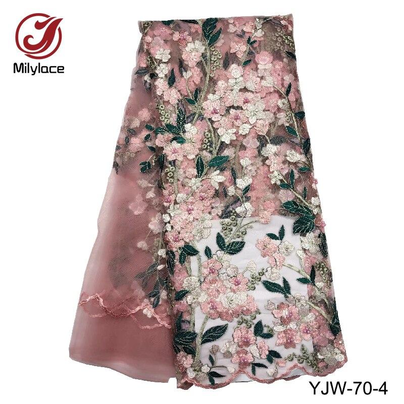 Tela delicada de encaje africano Milylace, 5 yardas, tela de encaje bordado floral con cuentas, encaje de tul francés para vestido de fiesta, YJW-70