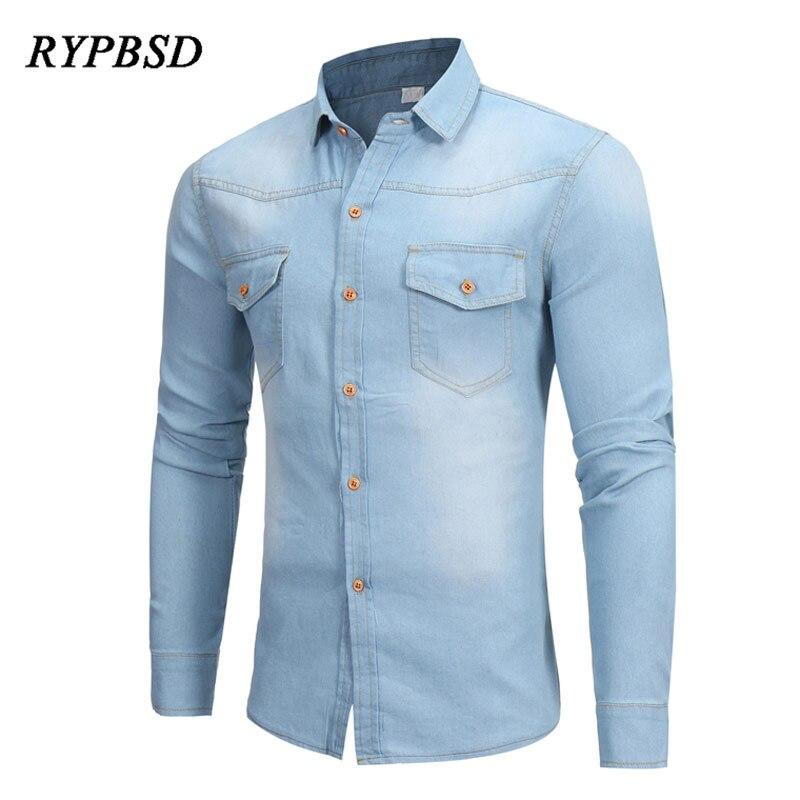 Camisa vaquera para hombre, primavera otoño 2020, vestido informal de manga larga para hombre, camisas entalladas, Camisa vaquera azul clásica Masculina