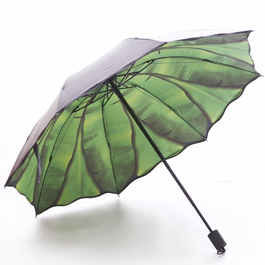 Портативный дорожный Зонт с узором подорожника двойного назначения складной зонт от солнца и дождя компактный зонтик для мужчин и женщин деловой