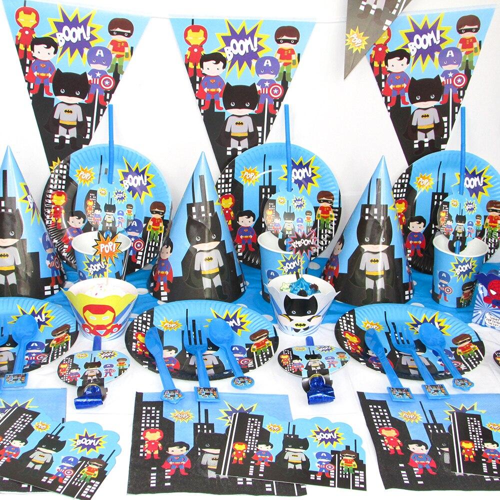Праздничные украшения в стиле «мстители», для детей, с супергероями, вечерние принадлежности, набор посуды, тарелок, баннеров, воздушных шаров, конфетных коробок