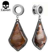 Casvort mode Piercing Tunnels boucle doreille Alex noir boucles doreilles Semi-précieuse pierre boucles doreilles mode moderne corps bijoux