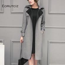 Winter Long Suede Trench Women Plus Size 3XL Jacket Slim Coat Vintage Oversize Jacket Streetwear Aut